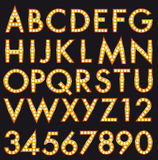 Marquee Alphabet font Letters in Broadway Billboard Sign Style. Vector Marquee Bulb Alphabet realistic Letters and numbers font set ispired to Broadway Style stock illustration