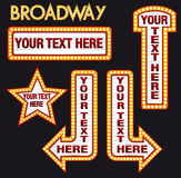 Vector Marquee Bulb realistic billboard set inspired to Broadway Style yellow Stock Photo