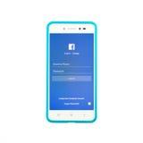 Facebook sida på smartphonen på vit bakgrund arkivfoto