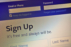 Facebook Sign Up - screen shot Stock Photography