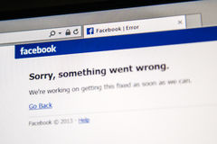 Facebook site is down. LONDON, UNITED KINGDOM - JUNE 19, 2014: Facebook social network webpage showing text Sorry, something went wrong as a worldwide crash Royalty Free Stock Images