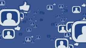 Facebook social do conceito dos meios do laço da rede video estoque