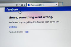 Facebook social network down Stock Image