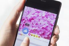 Facebook srotola cinque nuovi bottoni delle reazioni Fotografia Stock Libera da Diritti