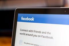 Facebook sul computer portatile Fotografia Stock Libera da Diritti