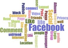 Facebook tag cloud. With all the key words use in facebook Stock Photo