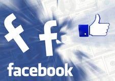 Facebook thumb cash blue background. Facebook thumb with Facebook logo cash blue background vector illustration
