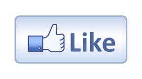 Facebook Thumb Up Like Button. Thumb up hand with like text on button. Isolated on white vector illustration
