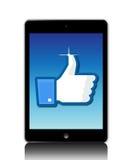 Facebook tiene gusto en ipad stock de ilustración