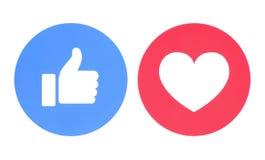 Facebook tiene gusto y ama de iconos imagen de archivo