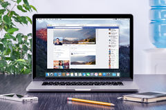Free Facebook Timeline In User Profile On The Apple Macbook Pro Stock Image - 56882801