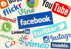 Facebook, Twitter And Other Popular Social Media Website Logos On Personal Computer Screen Stock Photography