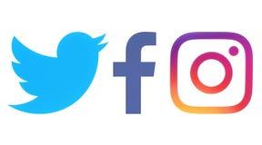 Facebook, Twitter en Instagram-emblemen stock illustratie