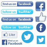Facebook and Twitter follow find royalty free illustration