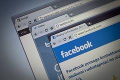 Facebook, Twitter, Google Photos stock