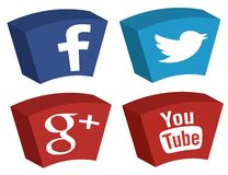 Facebook Twitter Google plus YouTube-Ikonen Stockbilder