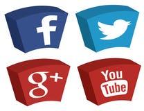 Facebook Twitter Google plus YouTube-Pictogrammen Stock Afbeeldingen