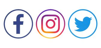 Facebook, Twitter and Instagram logos. Kiev, Ukraine - April 23, 2018: Facebook, Twitter and Instagram logos printed on white paper royalty free stock image