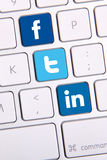 Facebook Twitter and Linkedin keyboard. Johor, Malaysia - Sep 13, 2013: Facebook, Twitter and Linkedin icon on keyboard. There are famous website in the world Stock Photos