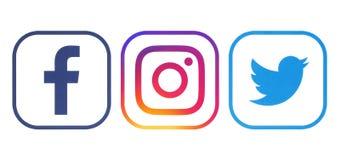 Facebook, Twitter och Instagram logoer royaltyfri bild