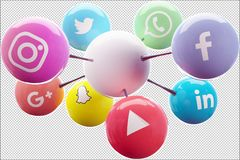 Social Networks connected to a white ball ideal for a logo. Facebook, Twitter, Whatsapp whatsup, linkedin, youtube, snapchat, google plus and instagram connected stock illustration