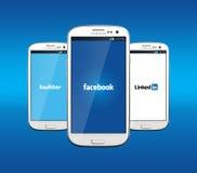 Facebook Twitter y Linkedin Fotos de archivo libres de regalías