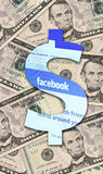 Facebook and U.S. Dollar Royalty Free Stock Images