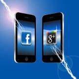 Facebook v Google più Fotografie Stock
