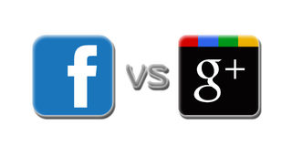 Facebook V Google plus Stockbild
