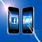 Facebook v Twitter Royalty Free Stock Photography
