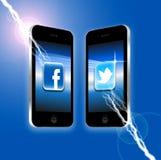 Facebook v Twitter stock illustration