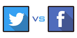 Facebook vs Twitter Royaltyfri Bild