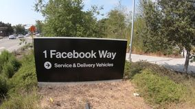 Facebook way HQ sign. Menlo Park, California, United States - August 13, 2018: Facebook way HQ sign of Facebook campus in Silicon Valley. employees by the stock video footage