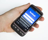 Facebook website on HTC phone Royalty Free Stock Photos