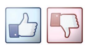 Facebook wie Abneigungs-Daumen herauf Zeichen Stockfotos