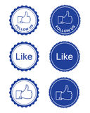Facebook wie/facebook folgen uns Tasten lizenzfreie abbildung