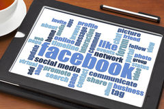 Facebook word cloud on tablet Stock Images