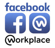 Facebook and Workplace logos printed on white paper. Kiev, Ukraine - October 11, 2016: Facebook and Workplace logos printed on white paper. Workplace is online stock illustration