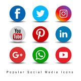 Popular social media icons. Facebook youtube twitter intagram pintrest icons glossy round on white background - editable vector illustration royalty free illustration