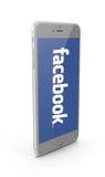 Facebook-Zeichen auf iphone Stockbilder