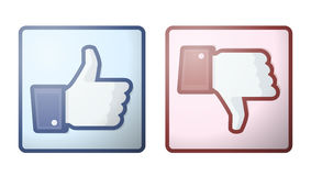 Facebook zoals de Duim van de Afkeer ondertekent omhoog Stock Foto's