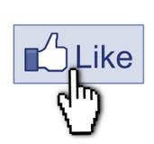 Facebook zoals duim ondertekent omhoog Stock Foto's