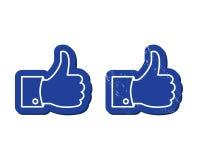 Facebook zoals knopen - Mordern en grunge Stock Foto's