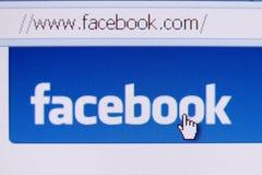 facebookhomepage Arkivfoto