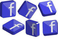 Faceboook 3D Logo set. Facebook 3D glass button logo collection Royalty Free Stock Photos