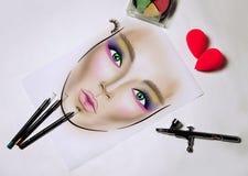 Facechart makeupmall för att dra skönhetsmedel royaltyfria bilder