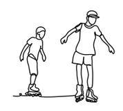 Faceci na rolownikach Ciągły kreskowy rysunek Odizolowywający na białym tle Wektorowy monochrom, rysuje liniami Fotografia Royalty Free