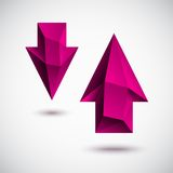 Faced magenta arrow set. Trendy faced magenta down and up arrows set Royalty Free Stock Photo