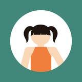 faceles dziewczyny dzieciaka emblemat wśród barwionego ramowego ikona wizerunku Zdjęcia Stock