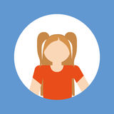 faceles dziewczyny dzieciaka emblemat wśród barwionego ramowego ikona wizerunku Zdjęcie Royalty Free